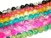 10mm multi-colour crackled glass beads